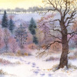 Watercolor landscape. Oak in the woods in winter the valley — Stock Photo