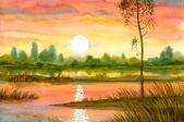 Cichym zachód słońca nad rzeką — Zdjęcie stockowe