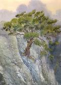 Watercolor landscape. Pine among cliffs — Stock Photo