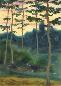 Watercolor landscape. A summer evening in a pine forest — Stockfoto
