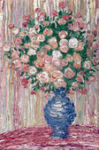Oil painting. Lush bouquet of delicate pink flowers — Stok fotoğraf