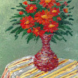 Stock Photo: Bouquet of lush red flowers in vase