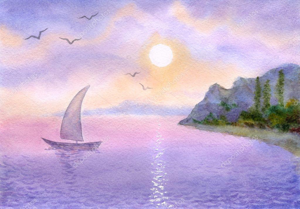 Рисуем морские пейзажи гуашью