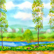 Young poplar trees on the river — Stock Photo