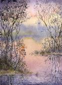水彩风景。在一个安静的湖的小岛上的灌木丛 — 图库照片