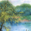 Watercolor landscape. Tree in the spring over the pond - Stock Photo