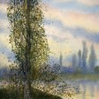 Watercolor landscape. Poplar over the summer lake — Stock Photo