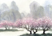 Watercolor landscape. Delicate flowering trees at spring day — Stock fotografie