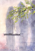 Watercolor landscape. Old castle in a quiet sea in the morning — Stock Photo