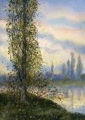 Watercolor landscape. Poplar over the summer lake — Stock Photo