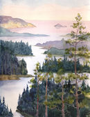 Watercolor landscape. River flowing among the spruce forest — Stock Photo