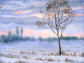 Watercolor landscape. Lonely tree in snow-covered steppe — Stock Photo