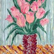 Oil painting. Bouquet of pink tulips in vase — Stock Photo