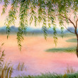 Stock Photo: Willow by lake