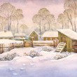 Watercolor landscape of old winter village — Stock Photo #10317067