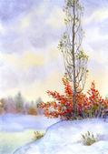 Hohe pappel unter den verschneiten steppen — Stockfoto