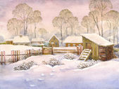 Watercolor landscape of old winter village — Stock fotografie