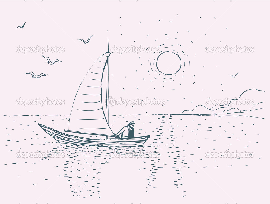 Vector image. Seascape with sailboats and seagulls  Stock Vector #10380549
