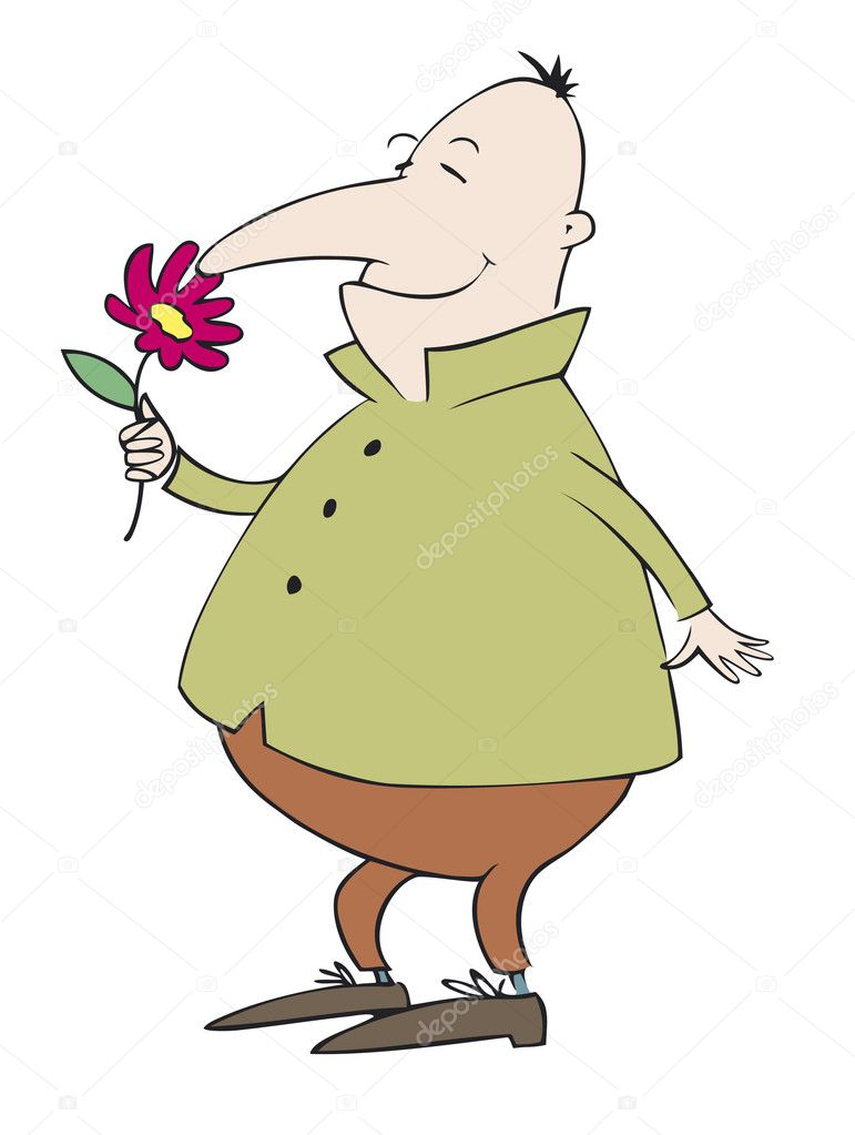 Vector caricature. Debonair Mr. enjoy the fragrance of flower — Stok Vektör #10382652