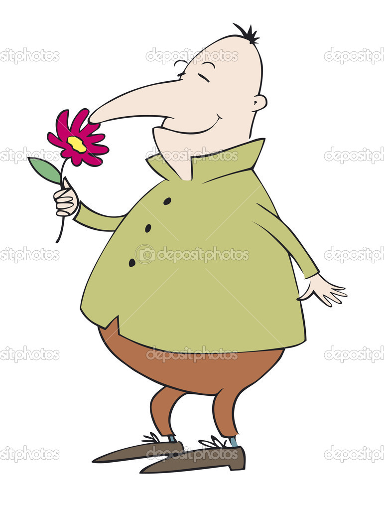 Vector caricature. Debonair Mr. enjoy the fragrance of flower — Stock vektor #10382652