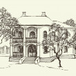 Royalty-Free Stock Vector Image: Sketch drawing of the old house among the orchard