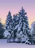 Winter evening — Stock Vector