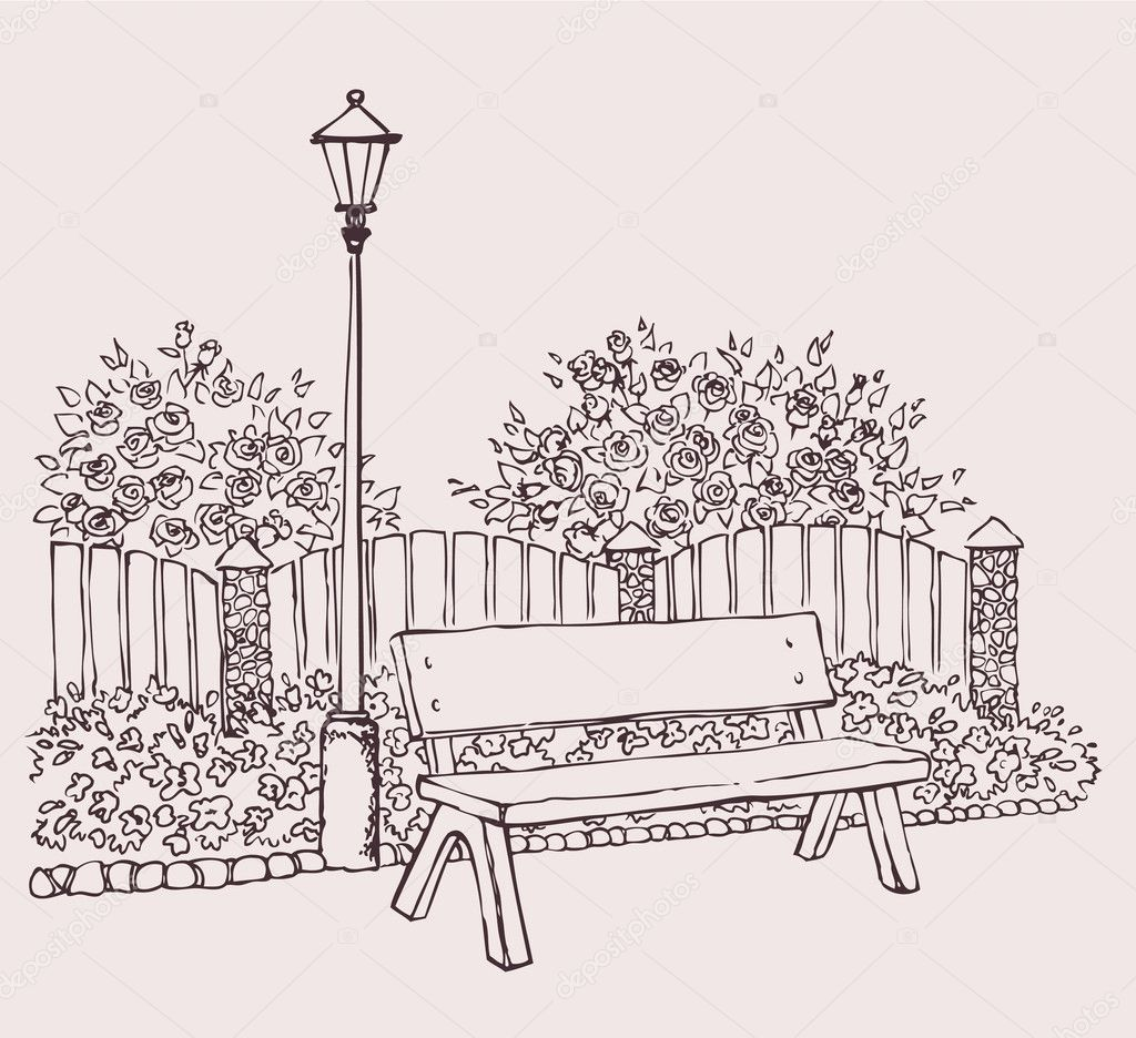 Vector drawing. A lantern in the park near the bench — Stock Vector #10450314
