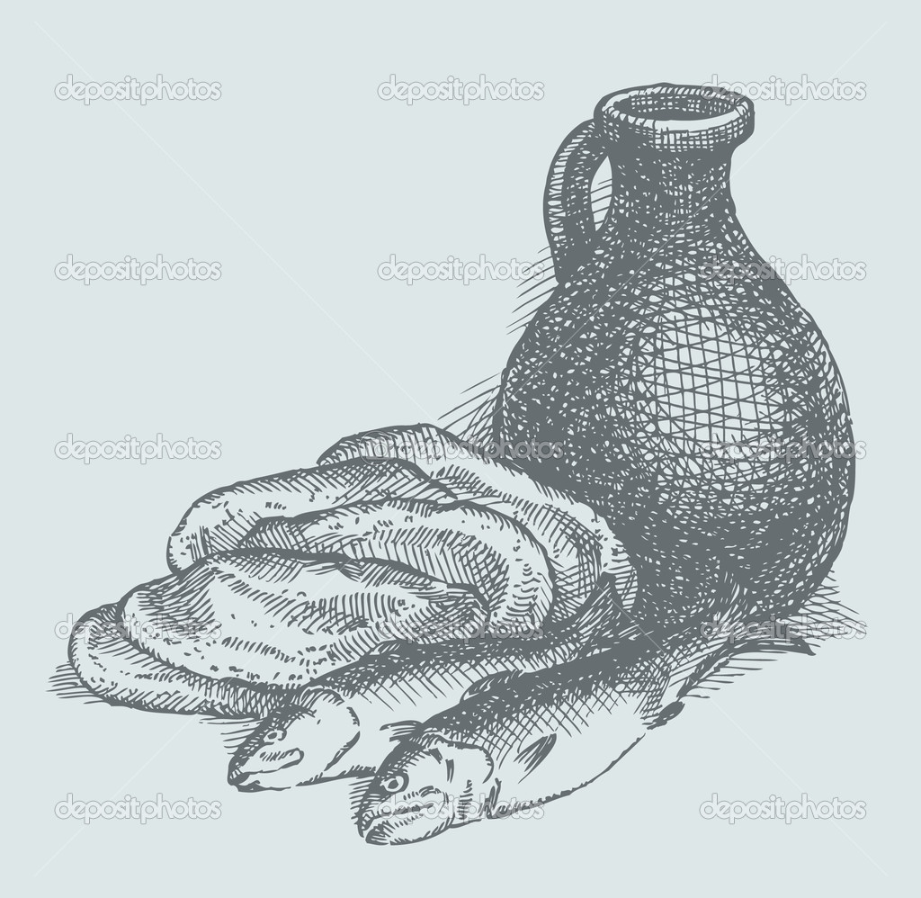 Vector sketch. Still life of a simple peasant food from the biblical story: the fish, bread and water — Vettoriali Stock  #10452778