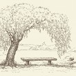 Old bench under willow tree by lake — Stock Vector #10470685