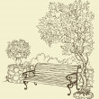 Bench in the park — Stock Vector