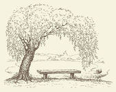 Old bench under a willow tree by the lake — Stock Vector