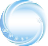 Kış arka plan olarak kar taneleri yuvarlak çerçeve — Stok Vektör