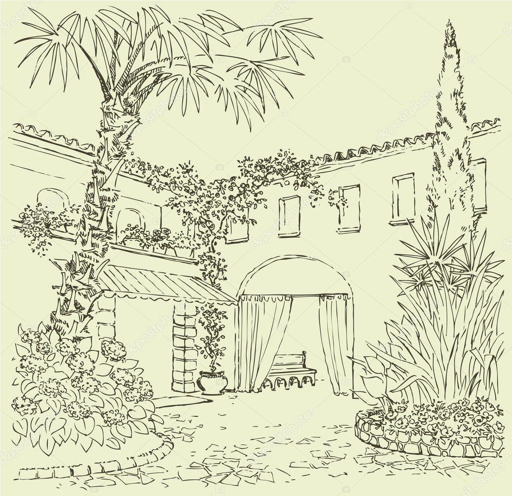 东部与花坛,院子的草绘柏树和棕榈树 — 矢量图片作者 marinka