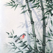 The little bird in a bamboo grove. The picture in Japanese style — Stock Photo