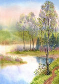 Watercolor landscape. Spring trees on a quiet lake — Stock Photo