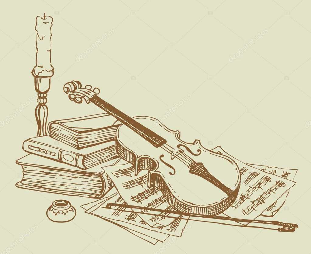 Vector still life of a violin,  books and pages with notes