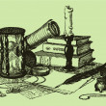 Bodegón de vector de reloj de arena, libros de compás, — Vector de stock