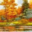 Autumnal forest on the lake — Foto Stock