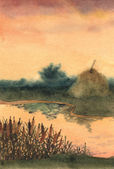 Watercolor landscape. Stock of hay on the lake — Stock Photo