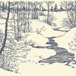 Royalty-Free Stock Vector Image: Vector landscape. Winter creek in the forest