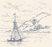 Vector landscape. Boat near the coast — Stock Vector