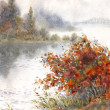 Watercolor landscape. Sketch of the autumn lake — Stock Photo