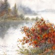 Royalty-Free Stock Photo: Watercolor landscape. Sketch of the autumn lake
