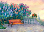Bench under a flowering lilac — Stock Photo
