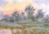 Watercolor landscape. Sunrise over the woods and meadows around — Stock Photo