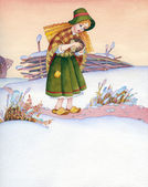 Watercolor illustration. Poor girl is on the winter trail — Stock Photo