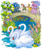 Children for a walk in the park feeding the swans on the pond — Stock Photo