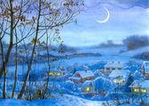 Aquarela paisagem. janelas iluminadas em casas — Fotografia Stock