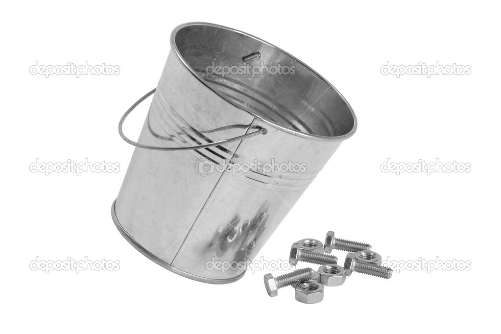 Metal galvanized bucket of bolts and nuts on white background — Stock Photo #9652783