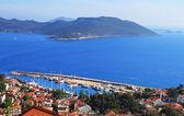 Harbour of city Kas (Kash) in Turkey and Greek island Kasteloriz — Stock Photo
